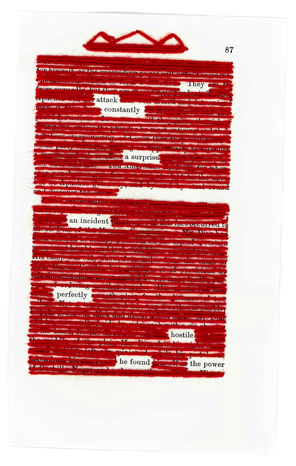 Jessica Andersdotter, black out poem, embrodiery, red, thread, poem