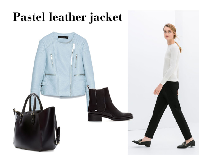 zara pastel lether jacket