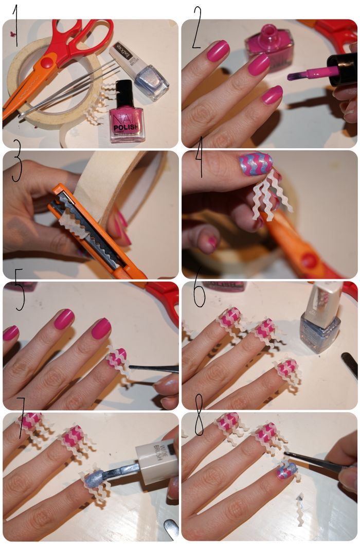 Chevron nail art tutorial