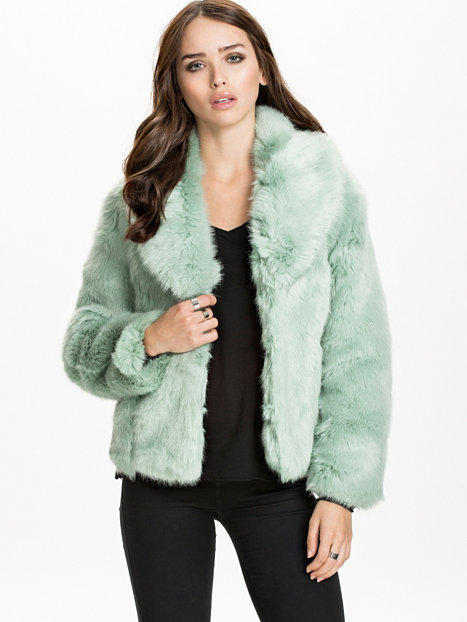 Miss selfridge green fur coat
