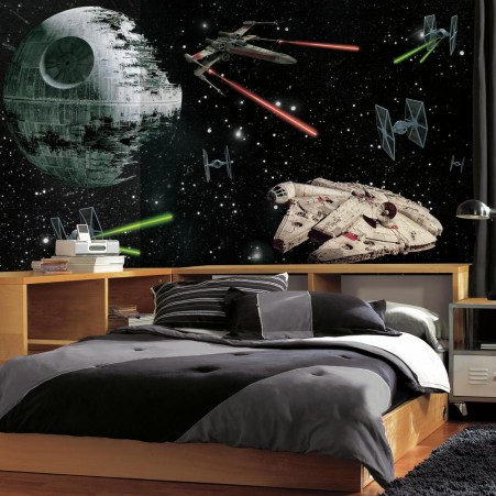 sovrum tapet star wars kille pojkrum death star millennium falcon