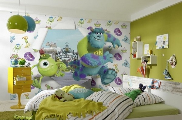 Fototapet barn tapet barnrum disney monster fototapet 3d