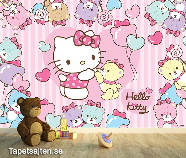 Fototapet Barn Hello Kitty Rosa Tapet Barnrum Barntapeter Tjej Flicka Tjejtapet Flicktapet Baby Tapet