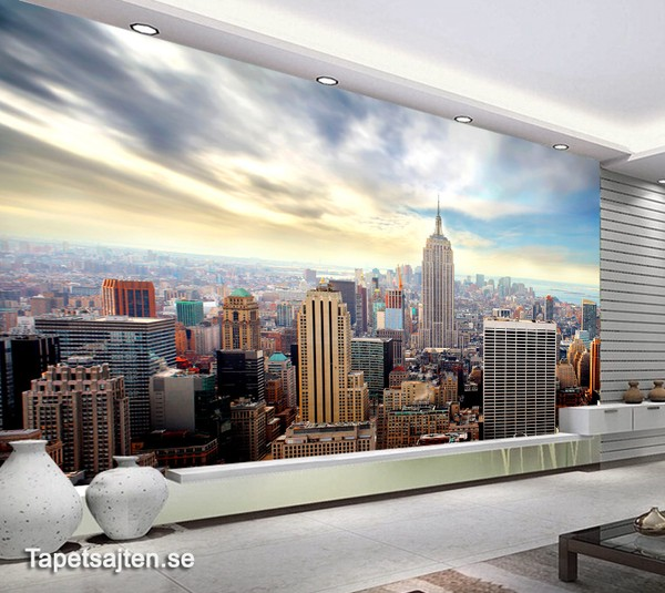 Fototapet New York Skyline new york tapet manhattan skyline stad fototapet vardagsrum 3d