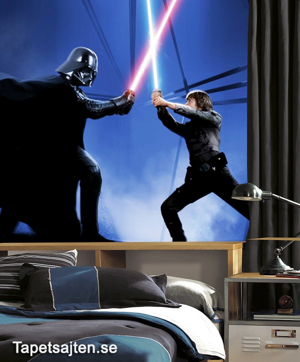 Fototapet Star Wars Tapeter Star Wars Tapet Luke Skywalker Vs Darth Vader Barntapet Fototapet Barn Ungdomstapet