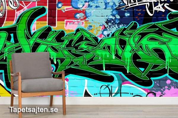 Graffiti Tapet Ungdomsrum Fototapet Ungdomstapet Cool Tapet Grön text Tegel