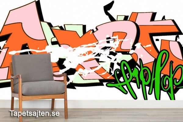Graffiti Tapet Ungdomsrum Fototapet Ungdomstapet Cool Tapet Orange Hip Hop