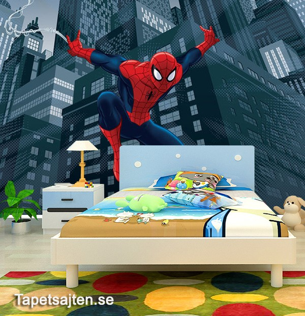 Marvel Tapet Spiderman Fototapet Barnrum Superhjältar Tapet Barntapet Barntapeter