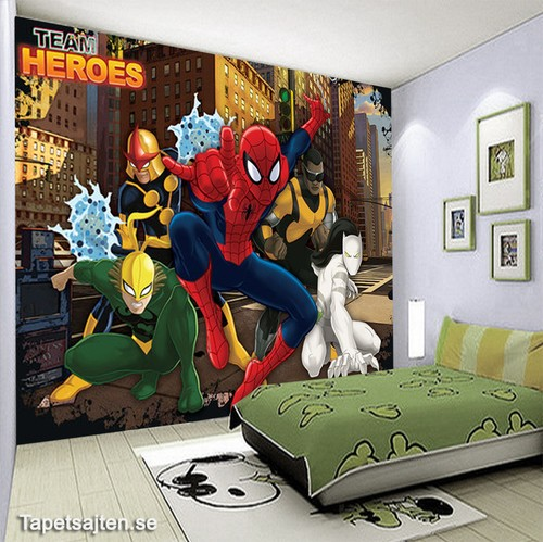 tapet marvel spiderman barnrum kille pojkrum fototapet 3d