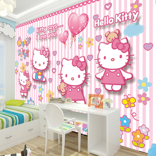 rosa tapet barnrum hello kitty rosa barntapet babytapet