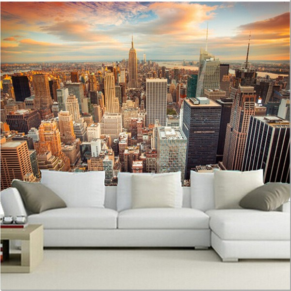 fototapet new york city manhattan skyline view översikt skyskrapor 3d fondtapet