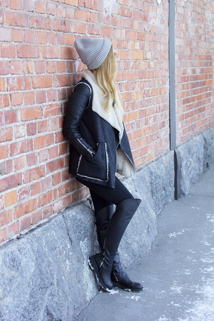 fashion blogger outfit winter tigh high boots