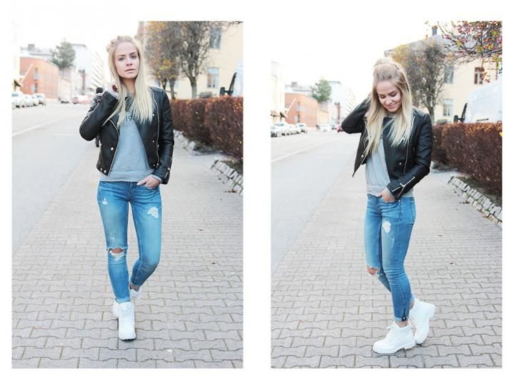 blue jeans black leather jacket