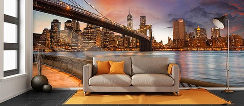 Fototapet New York Tapet Brooklyn Bridge Fondtapet Manhattan Skyline