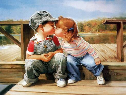 Painting_children_love_and_kiss1