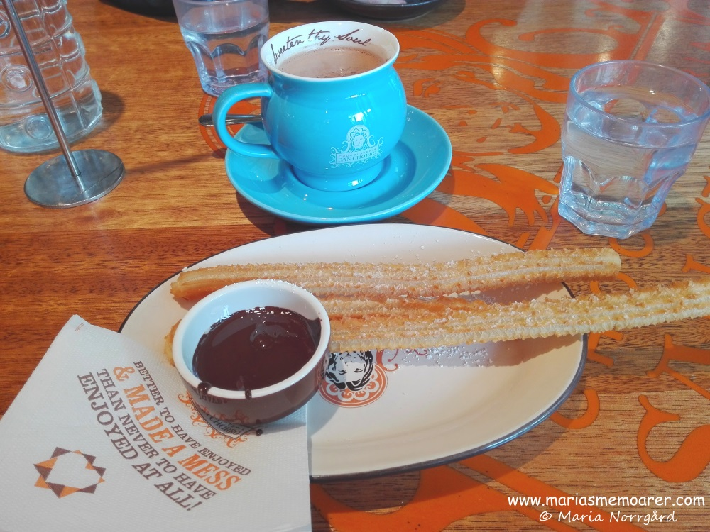 Having churros and hot chocolate in San Churro, CBC, Melbourne