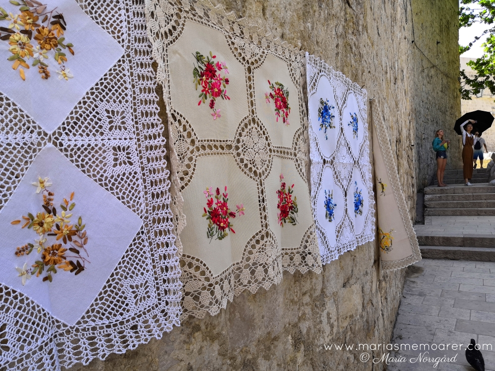 handcraft in Dubrovnik, Croatia- tablecloth embroidery