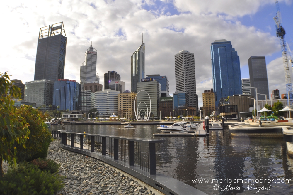 sightseeing Perth, Western Australia - Elizabeth Quay and skyscrapers