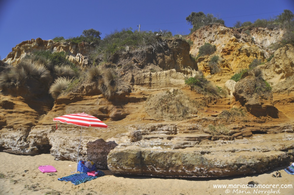 enjoying the sun at the Red Bluff cliffs on Half Moon Beach in Melbs