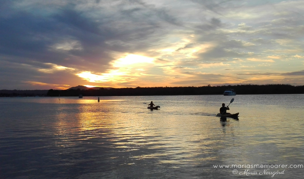 Sunset and kayaks in Noosa Everglades, Down Under