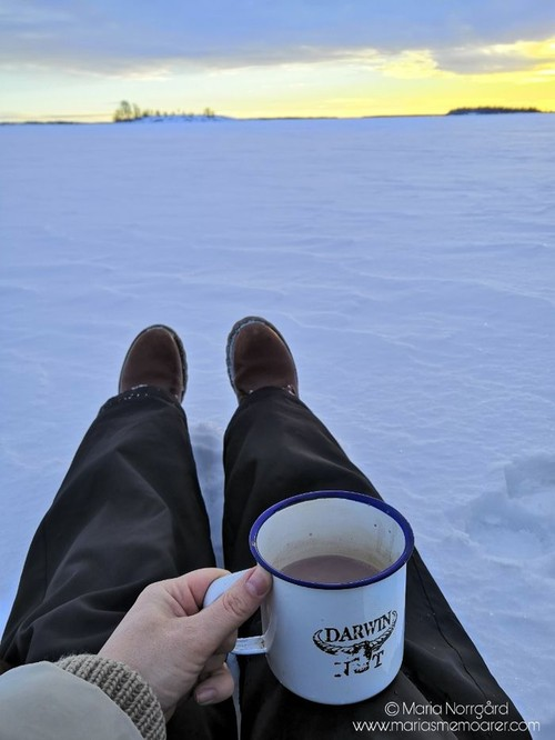 hot chocolate on frozen sea - Finland