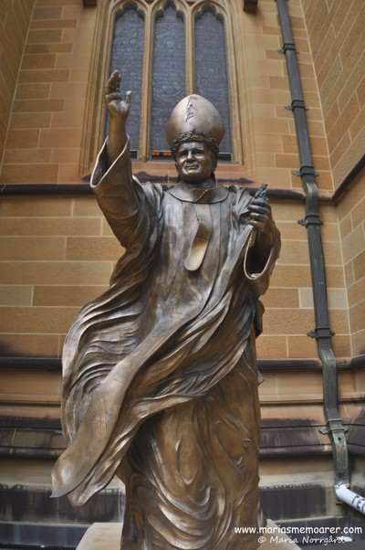 Bronze statue of Pope St John Paul II at St Mary's Cathedral in Sydney