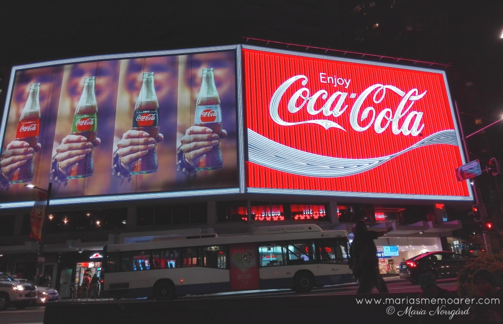 Night photography in Sydney - coca cola commercial at Kings Cross