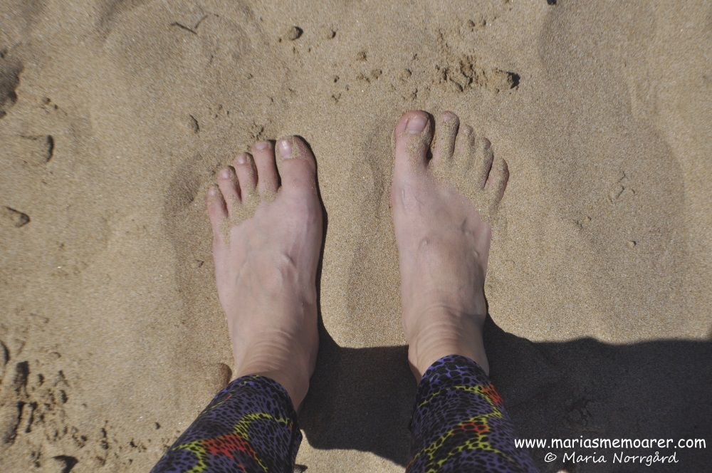 Pale Finnish feet on Australian beach