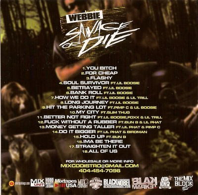 Webbie - Savage Or Die Back cover