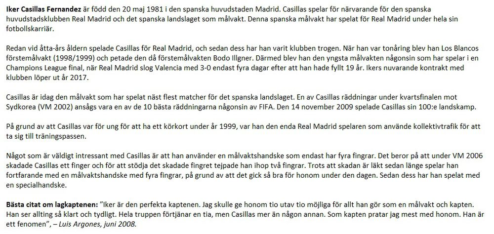 Iker Casillas Information