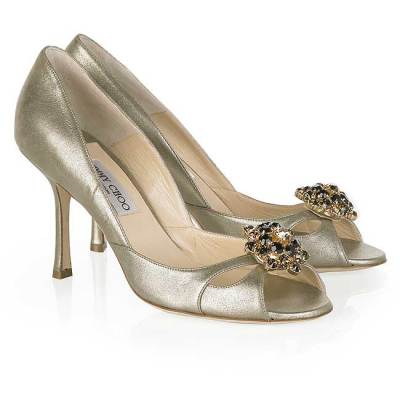 Jimmy Choo Pizza brooch pumps