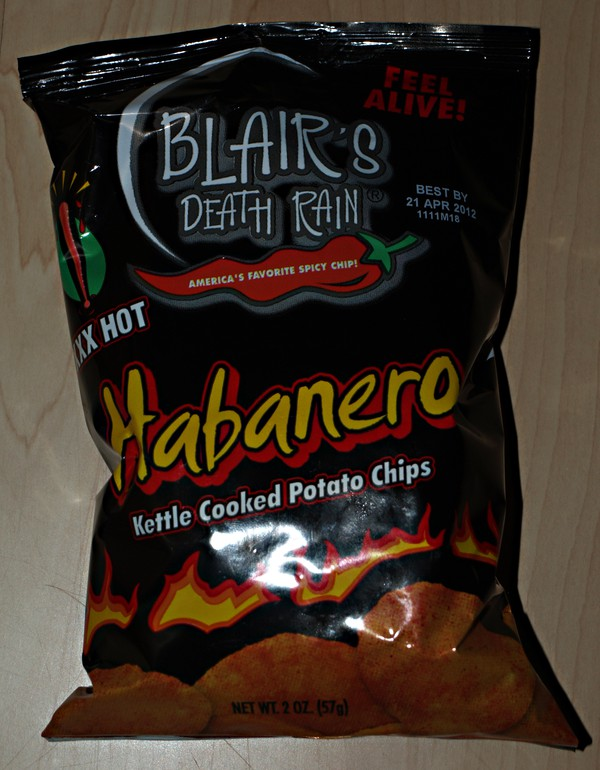Blair´s death rain, Habanero Kettle Cooked Potato Chips XXX Hot. America´s favorite spicy chip