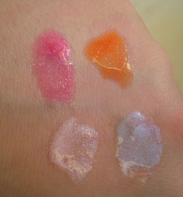 MAC lipglass hot frost nice to be nice snowscene blue memory swatches