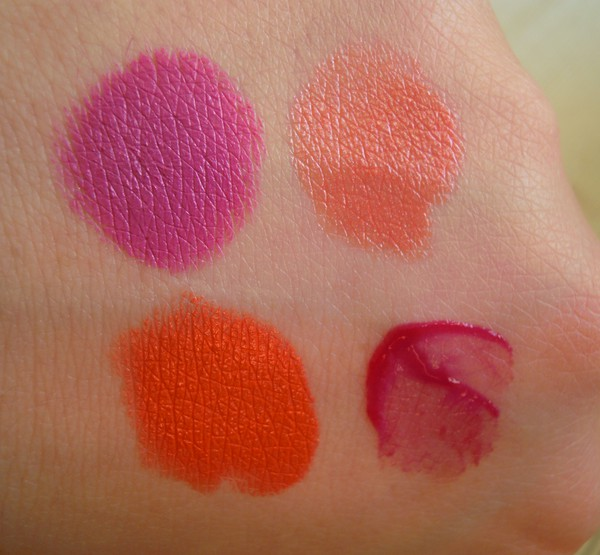 MAC lipstick gladiola blow dry electro see thru lip colour not so shy! swatches