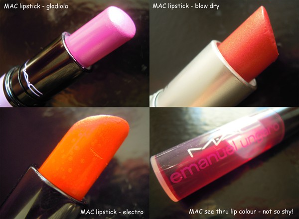 MAC lipstick gladiola blow dry electro see thru lip colour not so shy!