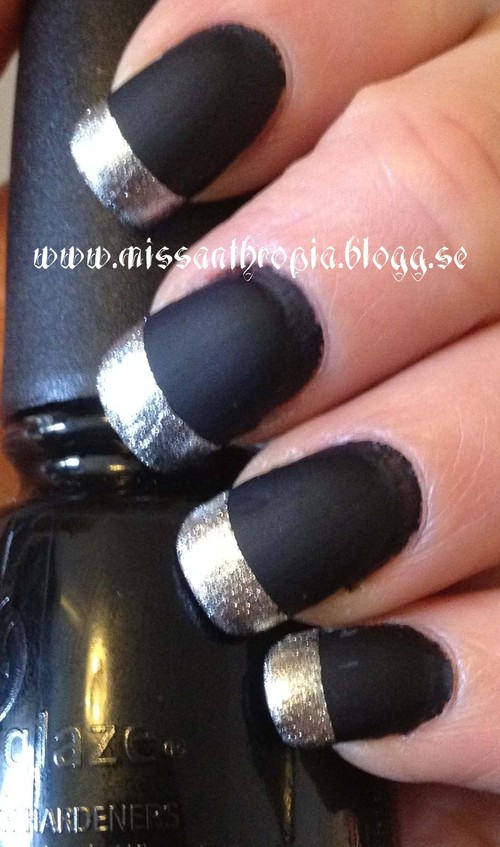 Matte Black And Silver Nails Silver Nails With Matte