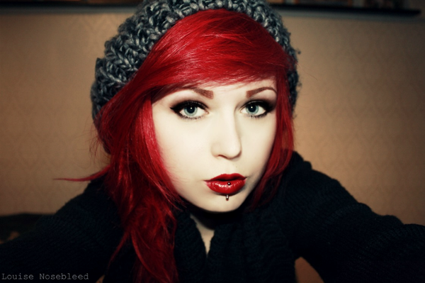 Emo hipster EpicWaste louise Nosebleed red hair red lips vertical labret