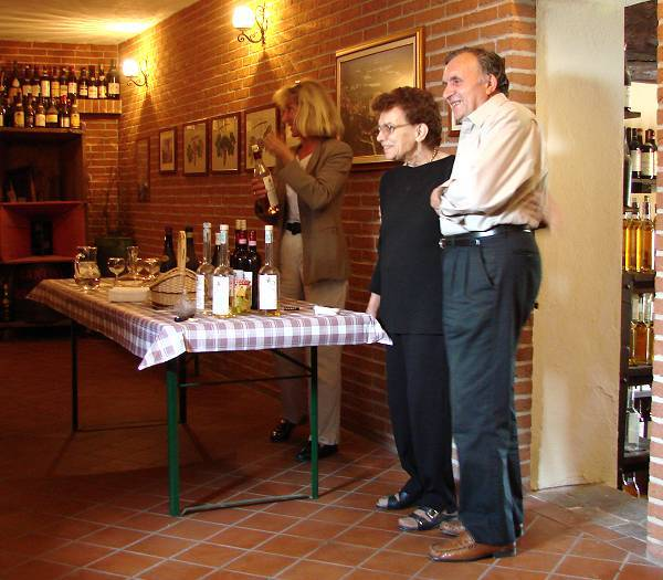 Signore and Signora at wineyard in Grinzane Cavour