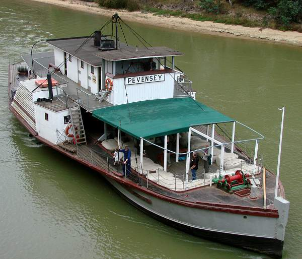 Paddle-steamer Pevensey at Murray River