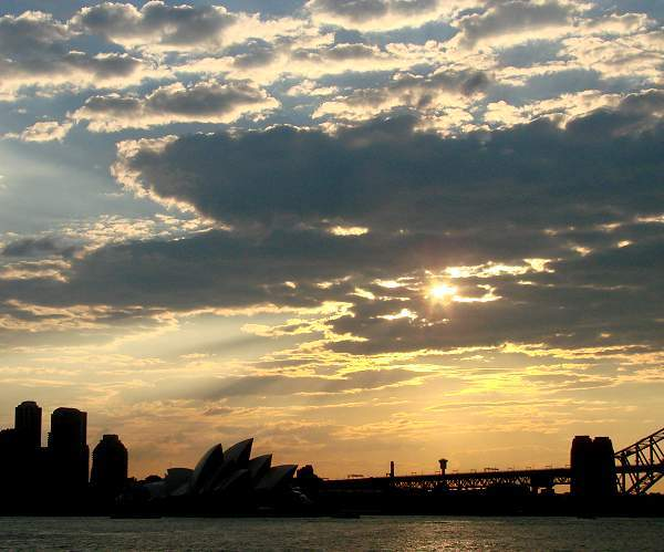Sydney skyline in evening light
