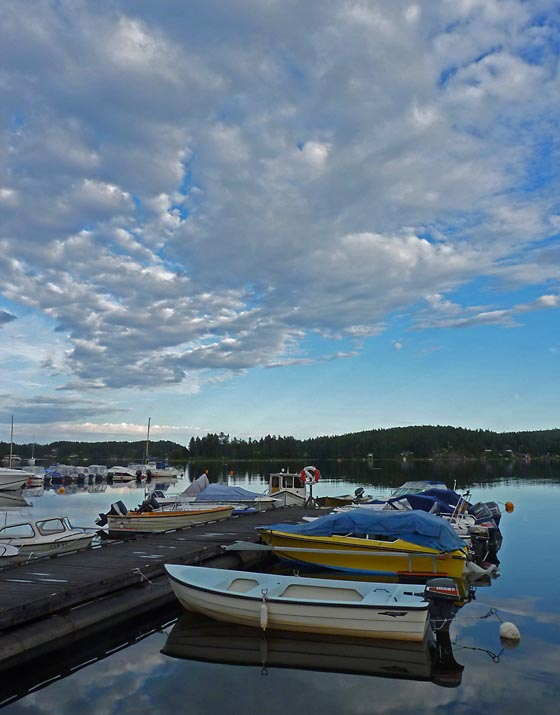 Boats in evening light outside Sundsvall